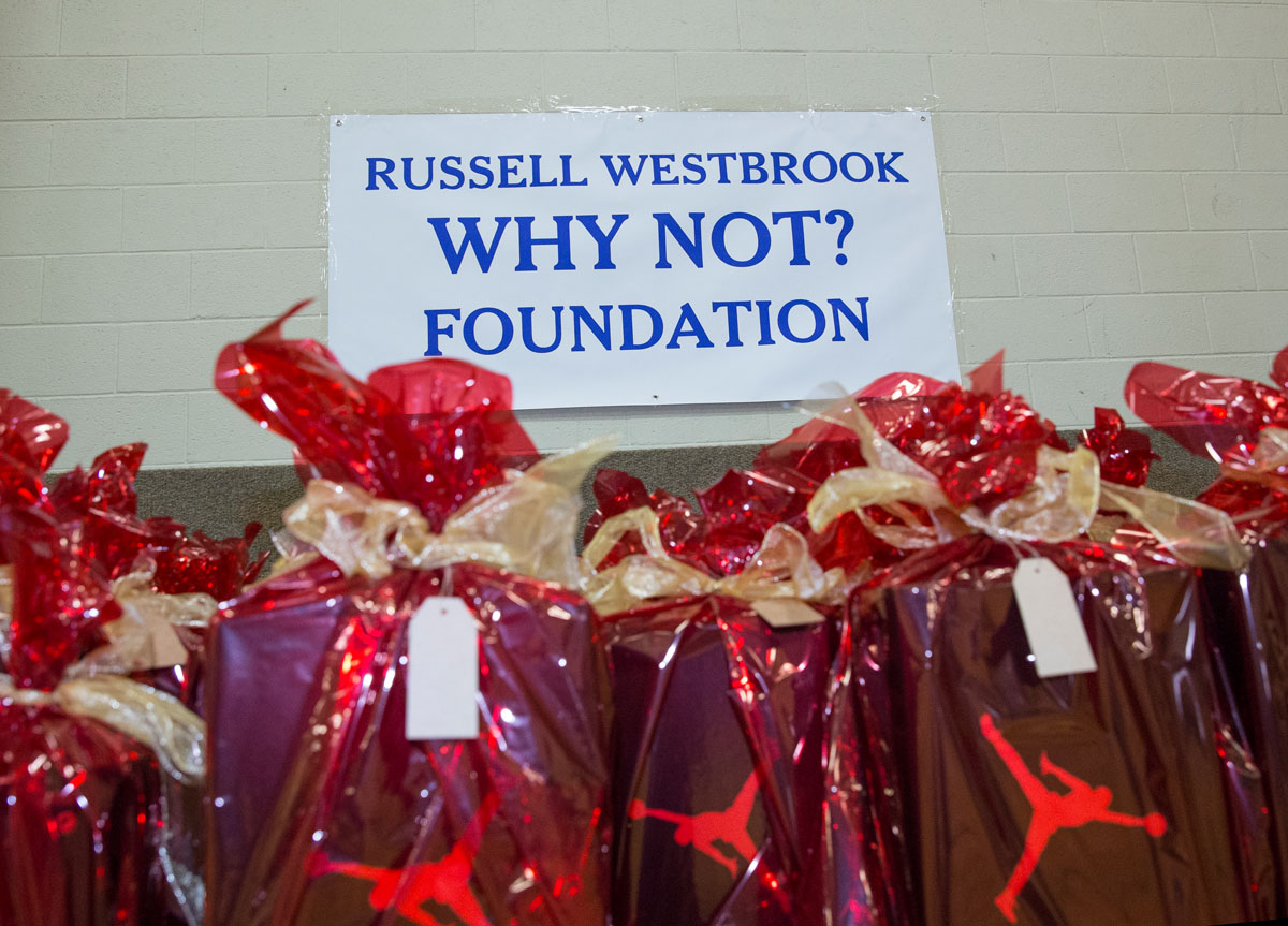OKLAHOMA CITY, OK - DECEMBER 14 :  Russell Westbrook's Why Not Foundation in conjunction with Citizens Caring for Children Christmas Party on December 13, 2013 in Oklahoma City, Oklahoma. NOTE TO USER:  User expressly acknowledges and agrees that, by downloading and/or using this photograph, user is consenting to the terms and conditions of the Getty Images License Agreement. Mandatory Copyright Notice:  Copyright 2013 NBAE (Photo by Richard Rowe/NBAE via Getty Images)